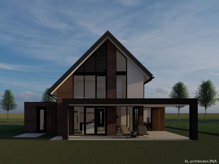 Nieuwbouw van een karaktervolle woning met markante asymmetrische kapvorm in Hasselt
